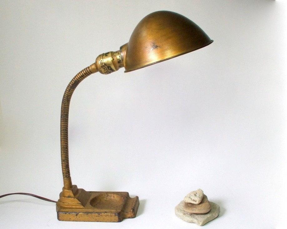 Antique Gooseneck Desk Lamp with Deco Base