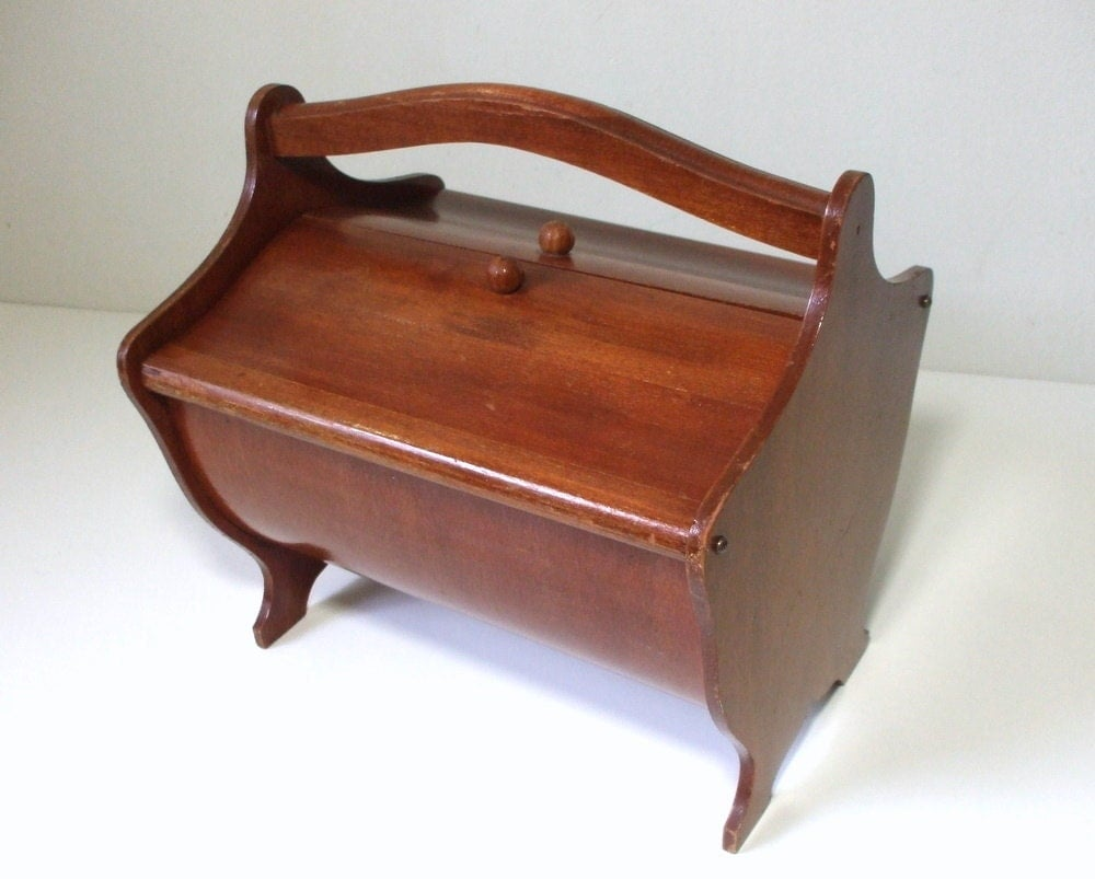 Vintage Wooden Sewing Box