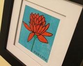 5x5 NAMASTE lotus flower print of mixed media art