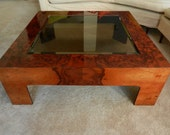 RESERVED - Vintage Lacquered Burlwood Coffee Table w/ Smoke Glass