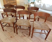 RESERVED - Pair of FDB Mobler Vintage Oak and Papercord Chairs