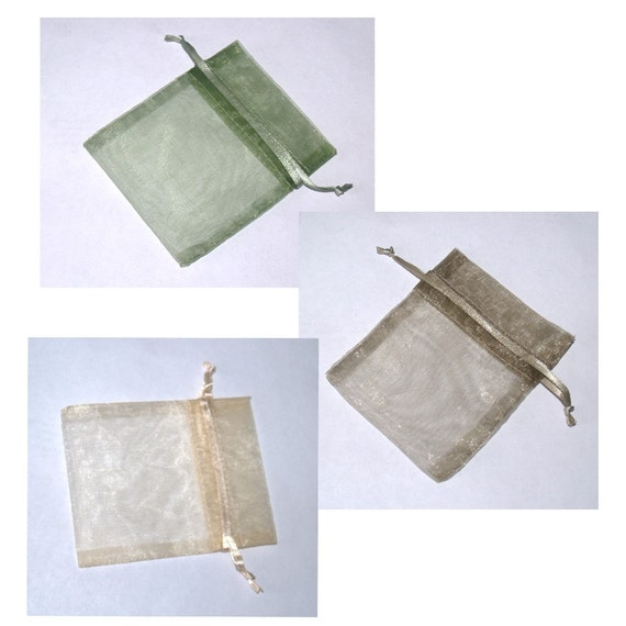 30 Natural Forest Colors Organza Bags 3 in x 4 in 3 Colors