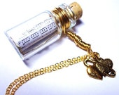 Love Song in a Bottle necklace. Across the Universe by The Beatles Music Sheet. Gold Hearts FREE SHIPPING Valentine's Day