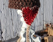 Beanie My Valentine Hat with Heart Earflaps & Braids