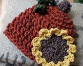 Pumpkin Hat & Sunflower  (Newborn, Toddler, Child)