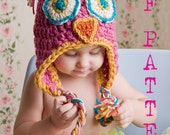Owl Hat Crochet Pattern Instant Download (Size Newborn, Toddler,Child)