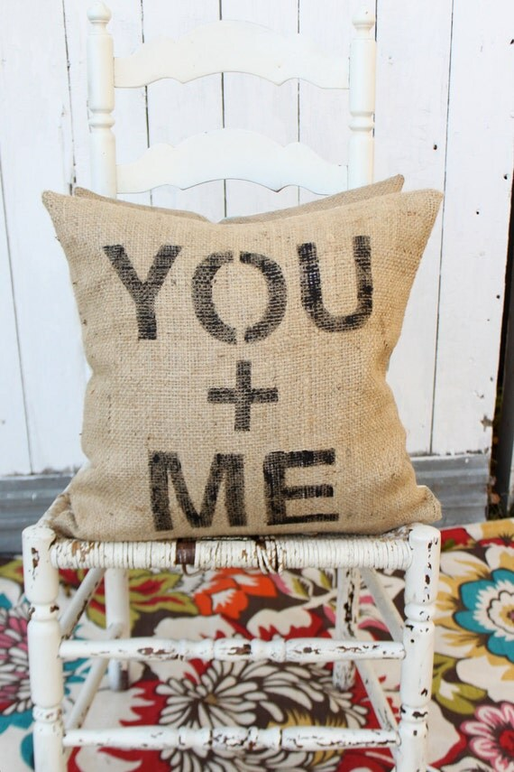 Items similar to you plus me burlap chevron 18 hand for Hand painted pillows