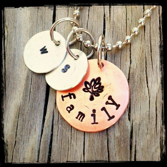 Custom Stamped Copper Silver Charm - Pendant - Necklace - Family Tree Copper Disc - Sterling Silver Initial Discs Customized - Personalized