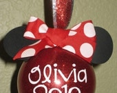 Minnie Mouse Ornament Red Polka Dot Personalized