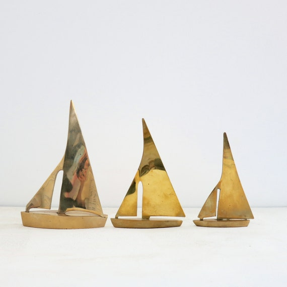 Vintage Brass Sailboats Trio Set of 3 - Mid Century Home Decor