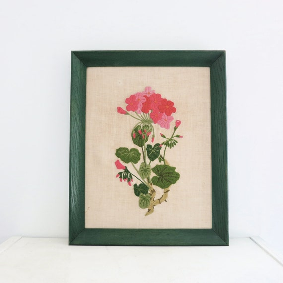 Vintage Crewel Green and Pink Floral Spring Wall Hanging