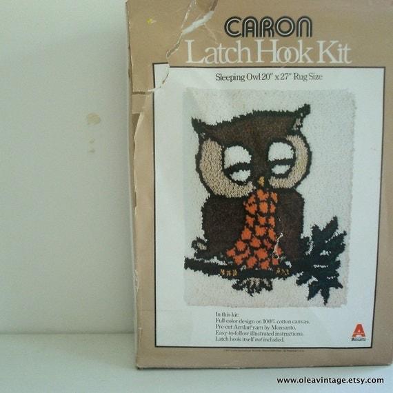 Vintage Owl Latch Hook Rug Or Wall Hanging Kit