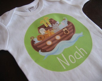 Personalized Noah's Ark Design - Baby Bodysuit or Toddler Tee - Available in various colors and sizes