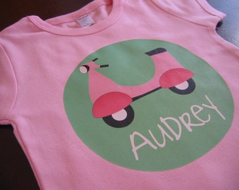 Personalized GIRL VESPA Baby or Toddler Tee - Available in various colors and sizes