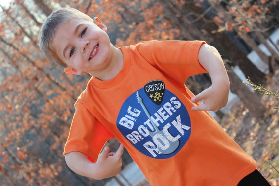Personalized Big Brothers Rock Baby or Toddler Tee - Available in various colors and sizes