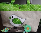 Fun Burlap Green Funky Bird Tote Bag