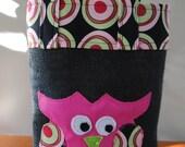 Funky Pink Night Owl Black Burlap Lunch Tote Bag