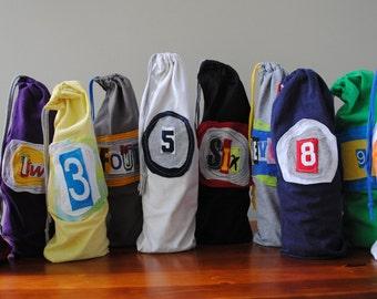 Recycled tshirt wine tasting set of 10 bags