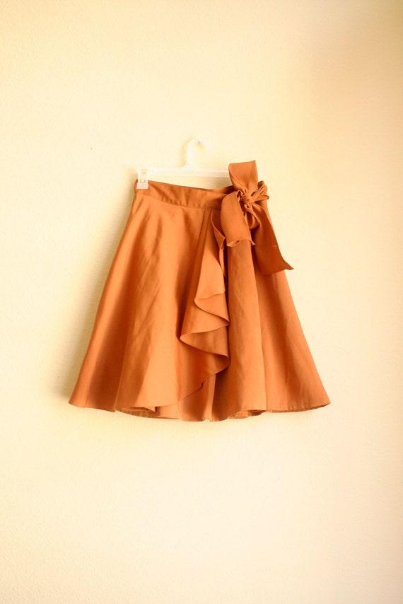 80s Burnt Orange Rust Full Skirt with Ruffle and Tie
