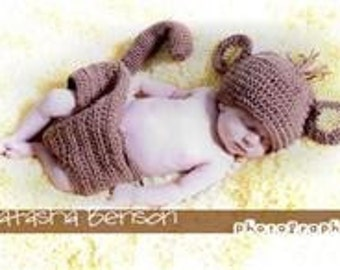 Monkey baby crochet hat and diaper cover Fits 0-6 to 18 mths. Brown and cream. Cute