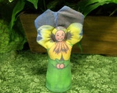 PANSY BLOSSOM FLOWER - Yellow and Purple Nature Table Play Doll - Free Shipping Continental United States
