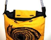 Mustard with Vortex Print Messenger Bag