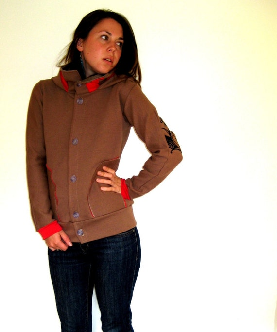 Tan with Red Cowl and Hood Jacket