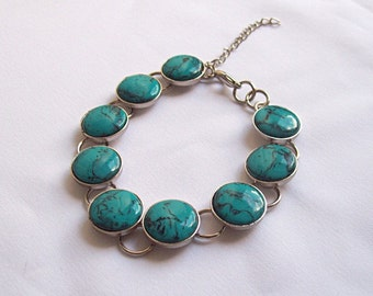 Polymer Clay Faux Turquoise Bracelet
