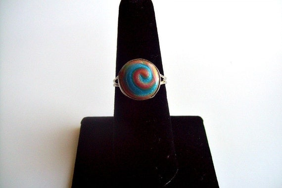"""Polymer Clay Adjustable Size """"Swirl"""" Ring"""