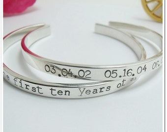 Personalized Cuff Bracelet - Hand Stamped Sterling Silver Bracelet - Coordinate Bracelet - Anniversary Gift - Valentine's Gift - Mantra Band