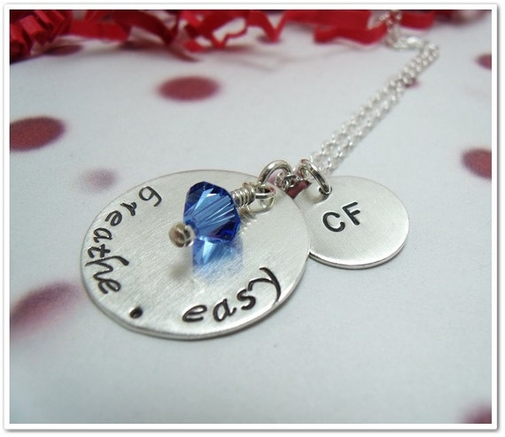 Hand Stamped Cystic Fibrosis Necklace - Breathe.Easy  - Awareness for Cys