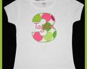 Birthday Number Short Sleeve Onesie or T-shirt - Custom Monogrammed