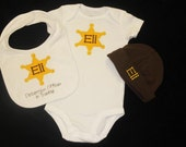 Sheriff Gift Set - Custom Monogrammed Onesie, Bib and Hat