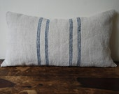 Blue striped vintage Hungarian grainsack pillow, large with kapok