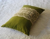 Large olive green hemp kapok cushion with lace and ticking