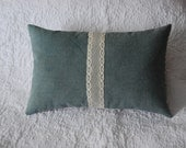 Blue pillow hemp kapok with ticking and lace small neck cushion 7 x 12