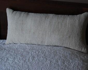 Rustic white linen bolster cushion cover long pillow rectangular boho minimalist modern bedding decor interiors lumbar uk scatter hemp eco