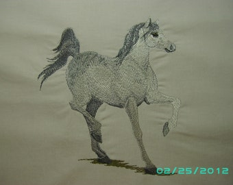 Machine Embroidered Arabian horse quilt square