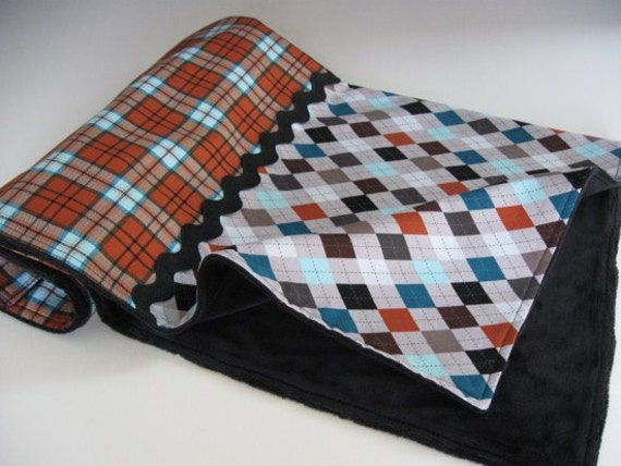 Soft Minky Blanket in Gray Argyle and Rust Colored Plaid with Black and Turquoise Accents --The Curtis Collection (K)