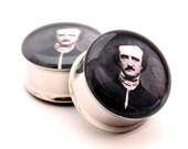 Edgar Allan Poe Picture Plugs gauges - 16g, 14g, 12g, 10g, 8g, 6g, 4g, 2g, 0g, 00g, 1/2, 9/16, 5/8, 3/4, 7/8, 1 inch