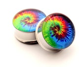Tie Dye Picture Plugs STYLE 1 gauges - 16g, 14g, 12g, 10g, 8g, 6g, 4g, 2g, 0g, 00g, 7/16, 1/2, 9/16, 5/8, 3/4, 7/8, 1 inch
