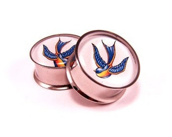 Swallows Picture Plugs gauges - 16g, 14g, 12g, 10g, 8g, 6g, 4g, 2g, 0g, 00g, 1/2, 9/16, 5/8, 3/4, 7/8, 1 inch