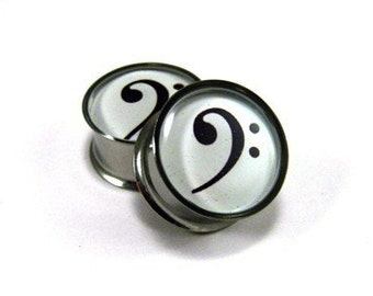Bass Clef Picture Plugs gauges - 00g, 1/2, 9/16, 5/8, 3/4, 7/8, 1 inch
