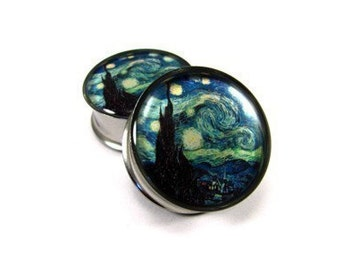 Starry Night Picture Plugs gauges - 1 1/8, 1 1/4, 1 3/8, 1 1/2 inch