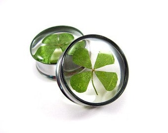"Real 4 Leaf Clover Embedded Plugs gauges - 5/8"", 3/4"", 7/8"", 1 inch, 1 1/8"", 1 1/4"", 1 3/8"", 1 1/2"""