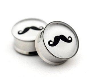 Mustache Picture Plugs gauges - 16g, 14g, 12g, 10g, 8g, 6g, 4g, 2g, 0g, 00g, 7/16, 1/2, 9/16, 5/8, 3/4, 7/8, 1 inch