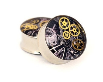 Steampunk Watch Parts Picture Plugs gauges - 5/8, 3/4, 7/8, 1 inch STYLE 2