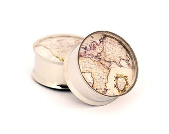 Antique Map Picture Plugs gauges - 16g, 14g, 12g, 10g, 8g, 6g, 4g, 2g, 0g, 00g, 7/16, 1/2, 9/16, 5/8, 3/4, 7/8, 1 inch STYLE 2