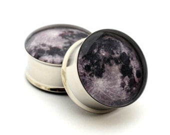 Moon Picture Plugs gauges - 16g, 14g, 12g, 10g, 8g, 6g, 4g, 2g, 0g, 00g, 7/16, 1/2, 9/16, 5/8, 3/4, 7/8, 1 inch