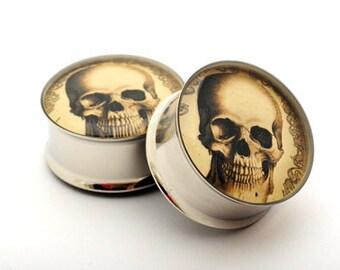 Vintage Skull Picture Plugs gauges - 16g, 14g, 12g, 10g, 8g, 6g, 4g, 2g, 0g, 00g, 7/16, 1/2, 9/16, 5/8, 3/4, 7/8, 1 inch